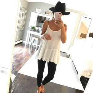 White open back boho tank shirt medium